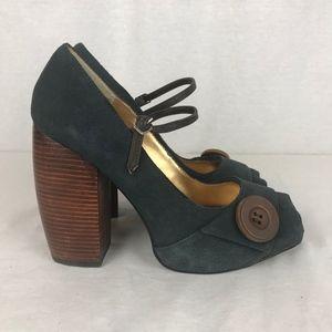 "Zinc Womens 8 Blue Suede Platform 4.5"" Block Heels"